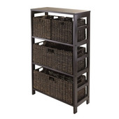 Granville 5pc Storage Shelf with 2 Large and 2 Small Foldable Baskets in Dark Espresso