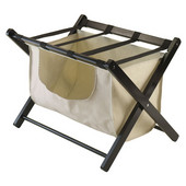 Dora Luggage Rack with removable fabric basket in Espresso, 26-9/16''W x 18-11/16''D x 20''H