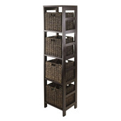 Granville 5pc Storage Tower Shelf with 4 Chocolate Foldable Baskets in Espresso / Chocolate