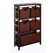 3-Section Storage Shelf in Espresso Finish with 4 Small and 1 Large Baskets 25.25''W x 11.25''D x 42''H