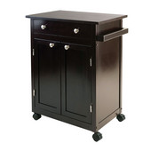 WS-92626, Savannah Kitchen Cart, Espresso, 26.89'' W x 17.72'' D x 34.02'' H