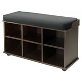WS-92633, Townsend Bench with Black Cushion Seat, Dark Espresso, 33.7'' W x 12.52'' D x 19.17'' H