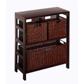2-Section Storage Shelf in Espresso Finish with 2 Small and 1 Large Baskets 25.25''W x 11.25''D x 29.25''H