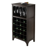 WS-92729, Ancona Modular Wine Cabinet with Glass Rack & 20-Bottle, Dark Espresso, 19.09'' W x 12.6'' D x 37.52'' H