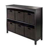 7pc Storage 3-Tier Shelf with 6 Small Baskets in Dark Espresso