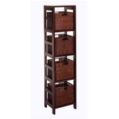 4-Section Storage Shelf with 4 Small Baskets in Espresso Finish 13.5''W x 11.25''D x 55''H