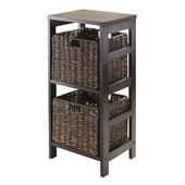 Granville 3pc Storage Shelf with 2 Chocolate Foldable Baskets in Espresso / Chocolate
