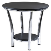 Maya Round End Table, Black Top, Metal Legs
