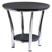 Maya Round End Table, Black Top, Metal Legs