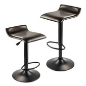 Paris Set of 2 Airlift Adjustable Swivel Stool with PU Leather Seat in Espresso Leather Seat / Black Metal Base, 15-3/16''W x 15-5/16''D x 33-13/16''H