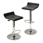 Adjustable Swivel Stools with Black Faux Leather Seat, 1 Pair