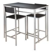 Hanley 3-pc High Table with 2 High Back Stools in Black / Metal, 42''W x 23-5/8''D x 38''H