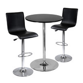 Pub Table Set, 28'' Round Table with 2 L-Shape Airlift Stools