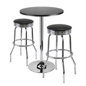 Summit 3-Pc Bar Table Set, 24'' Table and 2 Stools in Black / Metal
