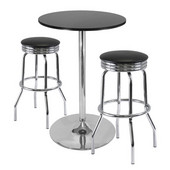 Summit 3-Pc Pub Table Set, 28'' Table and 2 Stools in Black / Metal