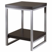 Jared End Table with Enamel Steel Tube Legs, Black Finish