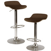 Kallie Air Lift Adjustable Stools, Cappuccino Wood, 1 Pair