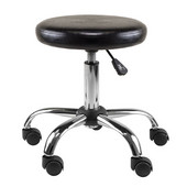 Clark Round Cushion Swivel Stool with adjustable height in Black / Metal, 22''W x 22''D x 22-5/16''H