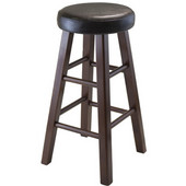 Marta Round Seated Stool, 13-5/8'W x 13-5/8'D x 25-3/8'H, Black Faux Leather