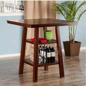 Orlando High Table w/ 2 Shelves, Walnut, 33-7/8''W x 33-7/8''D x 36''H