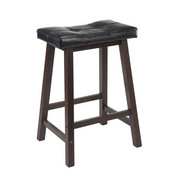 24'' Cushion Saddle Seat Stool, Black, Faux Leather