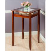 Halo Pub Table with Glass Inset & Shelf, Walnut, 25-5/8''W x 25-5/8''D x 42-1/8''H