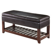 Monza Bench with Storage Chest in Espresso / Walnut, 42-1/2''W x 15-3/4''D x 20-1/2''H