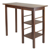 Egan Breakfast Table with 2 Side Shelves in Antique Walnut