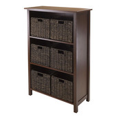 Granville 7pc Storage Shelf, 3-section with 6 Foldable Baskets in Walnut / Chocolate
