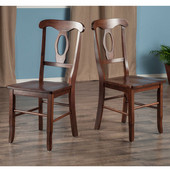 Renaissance Collection 2-Piece Set Key Hole Back Chairs in Walnut, 17-3/8'' W x 21-9/64'' D x 36-21/32'' H