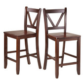 Victor 2-pc 24'' V Back Counter Stools in Walnut