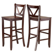 Victor 2-pc 29'' V Back Bar Stools in Walnut