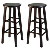 WS-94260, Square Leg, 29'' Bar Height Stools, Set of 2, Antique Walnut, 13.19'' W x 13.19'' D x 29.13'' H