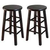 WS-94264, Square Leg, 24'' Counter Height Stools, Set of 2, Antique Walnut, 13.39'' W x 13.39'' D x 23.62'' H