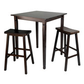WS-94300, 3-Piece Kingsgate High/Pub Dining Table with Saddle Stools, Antique Walnut, 33.8'' W x 33.8'' D x 38.9'' H