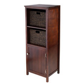3pc Brooke Jelly Cupboard with 2 Baskets in Antique Walnut