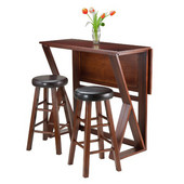 Harrington 3pc Drop Leaf High Table with Two 24'' Marta Stools, Antique Walnut Finish, 39-3/8''W x 31-1/2''D x 36-1/4''H