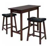 WS-94304, 3-Piece Kitchen Island Table with 2 Cushion Saddle Seat Stools, Antique Walnut, 39.37'' W x 19.69'' D x 33.27'' H