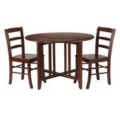 Alamo 3-Pc Round Drop Leaf Table with 2 Ladder Back Chairs in Walnut