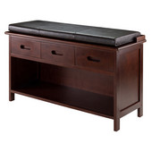 Adriana 2-Pc Storage Bench with Cushion Seat in Espresso, 38-1/4''W x 14-3/16''D x 21-7/8''H