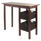 Egan 3-Pc Breakfast Table with 2 Baskets Set in Antique Walnut / Chocolate