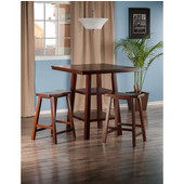 Orlando Collection 3-Piece Set High Table, 2 Shelves with 2 Saddle Seat Stools in Walnut, 33-7/8'' W x 33-7/8'' D x 36-1/16'' H