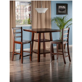 Orlando Collection 3-Piece Set High Table, 2 Shelves with 2 Ladder Back Stools in Walnut, 33-7/8'' W x 33-7/8'' D x 36-1/16'' H