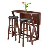 Harrington 3pc Drop Leaf High Table with Two 29'' Marta Stools, Antique Walnut Finish, 39-3/8''W x 31-1/2''D x 36-1/4''H