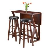Harrington 3pc Drop Leaf High Table with Two 29'' Marta Stools, Antique Walnut Finish, 39-3/8''W x 31-1/2''D x 36-1/4''H