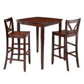 Inglewood 3-Pc High Table with 2 Bar V-Back Stools in Walnut, 33-7/8''W x 33-7/8''D x 38-7/8''H