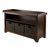 WS-94338, Granville Storage Bench with 3 Foldable Baskets, Walnut / Chocolate, 40'' W x 14.2'' D x 22'' H