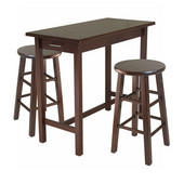 3-Pc Breakfast Table with 2 Square Leg Stools in Antique Walnut, 39-3/8''W x 19-11/16''D x 33-1/4''H