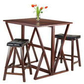 Harrington 3pc Drop Leaf High Table with Two 24'' Mona Saddle Seat Stools, Antique Walnut Finish, 39-3/8''W x 31-1/2''D x 36-1/4''H