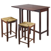 Lynnwood 3-Pc. Set, Includes Drop Leaf High Table and 2 Rush Seat Stools